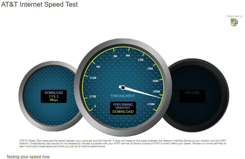AAT&T Speed Test on Desktop