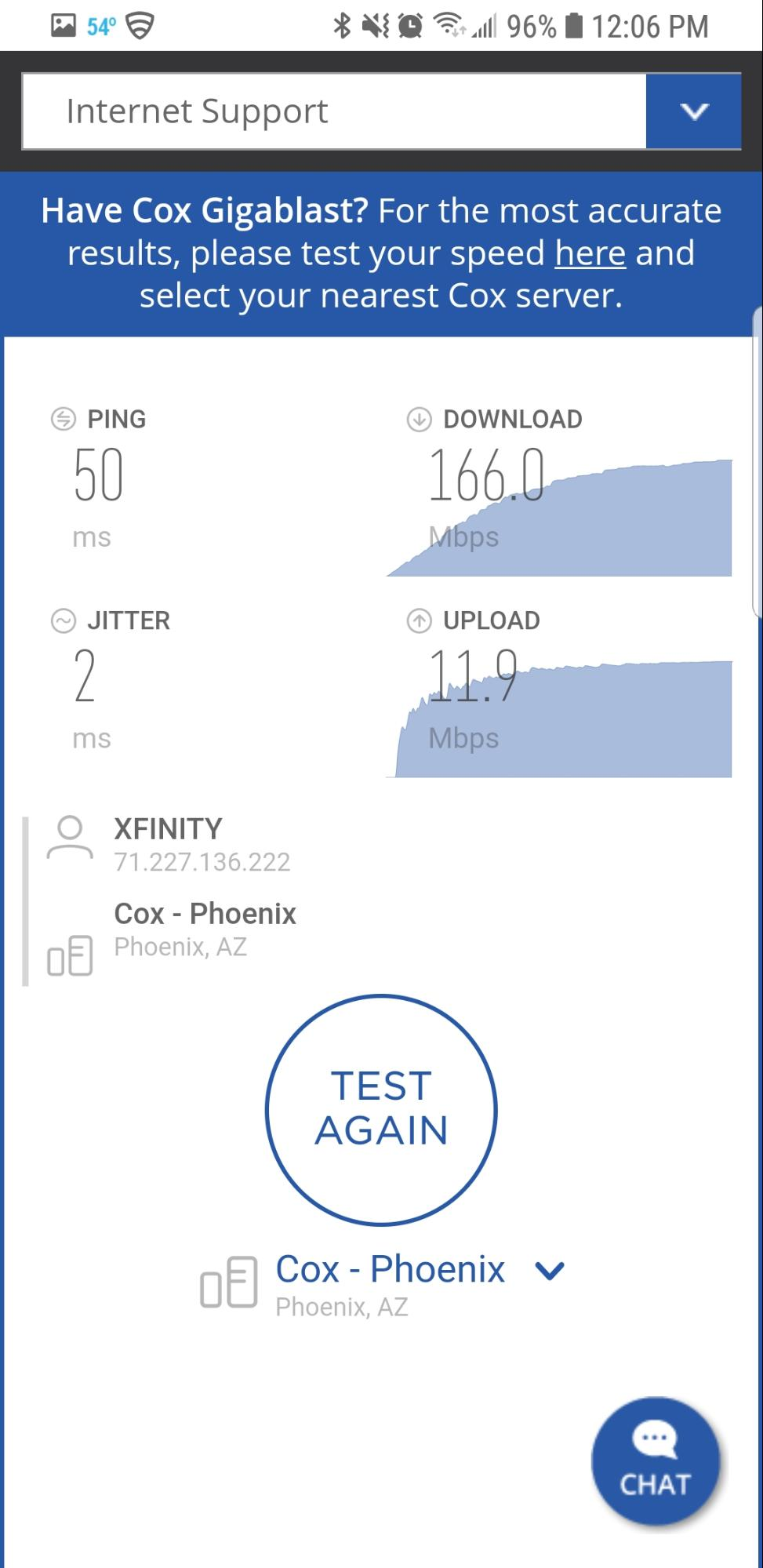 ACOX Internet Speed Test on Mobile