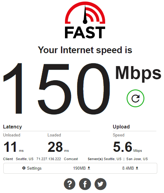 AFast.com Internet Speed Test on Desktop