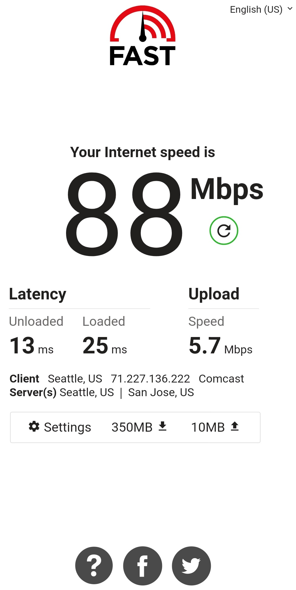 AFast.com Internet Speed Test on Mobile