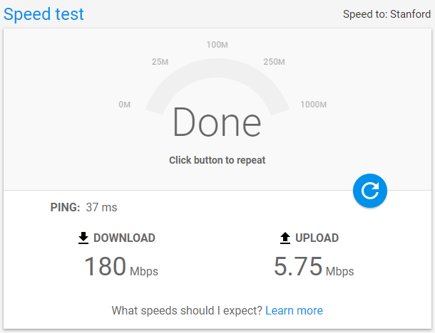 AGoogle Internet Speed Test on Desktop