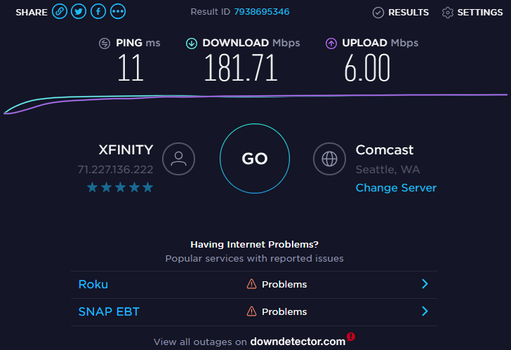 AOokla Internet Speed Test on Desktop