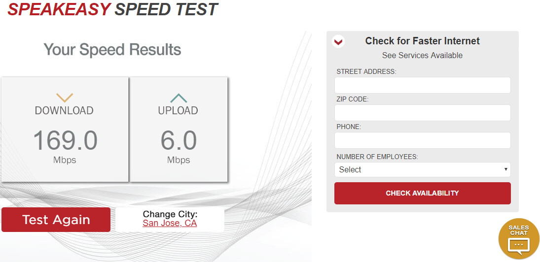 ASpeakeasy Internet Speed Test on Desktop