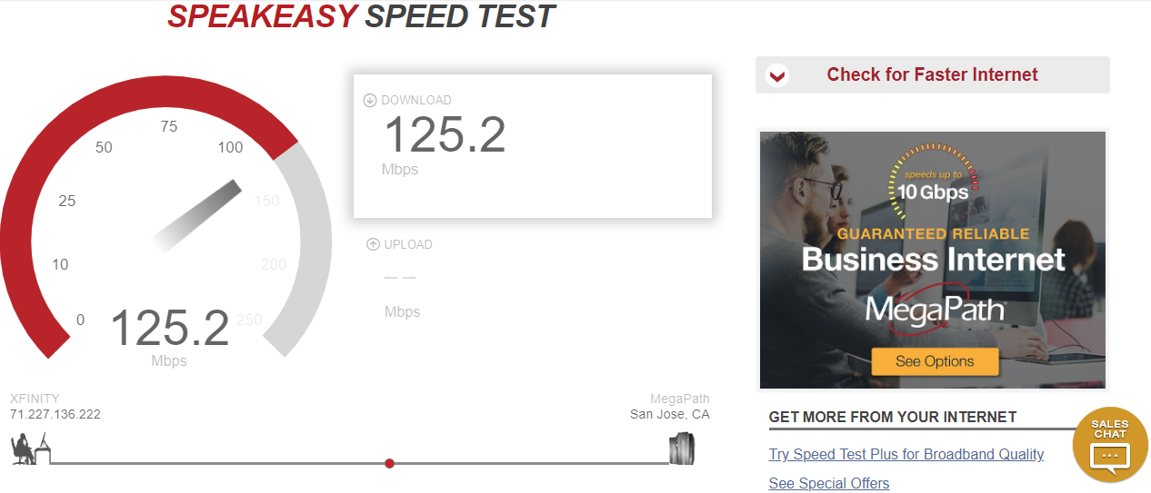 ASpeakeasy Speed Test on Desktop