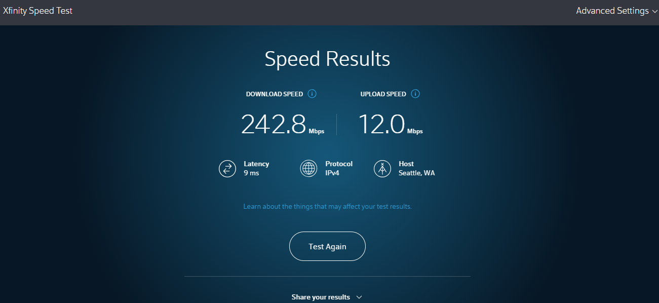 AXfinity Internet Speed Test on Desktop