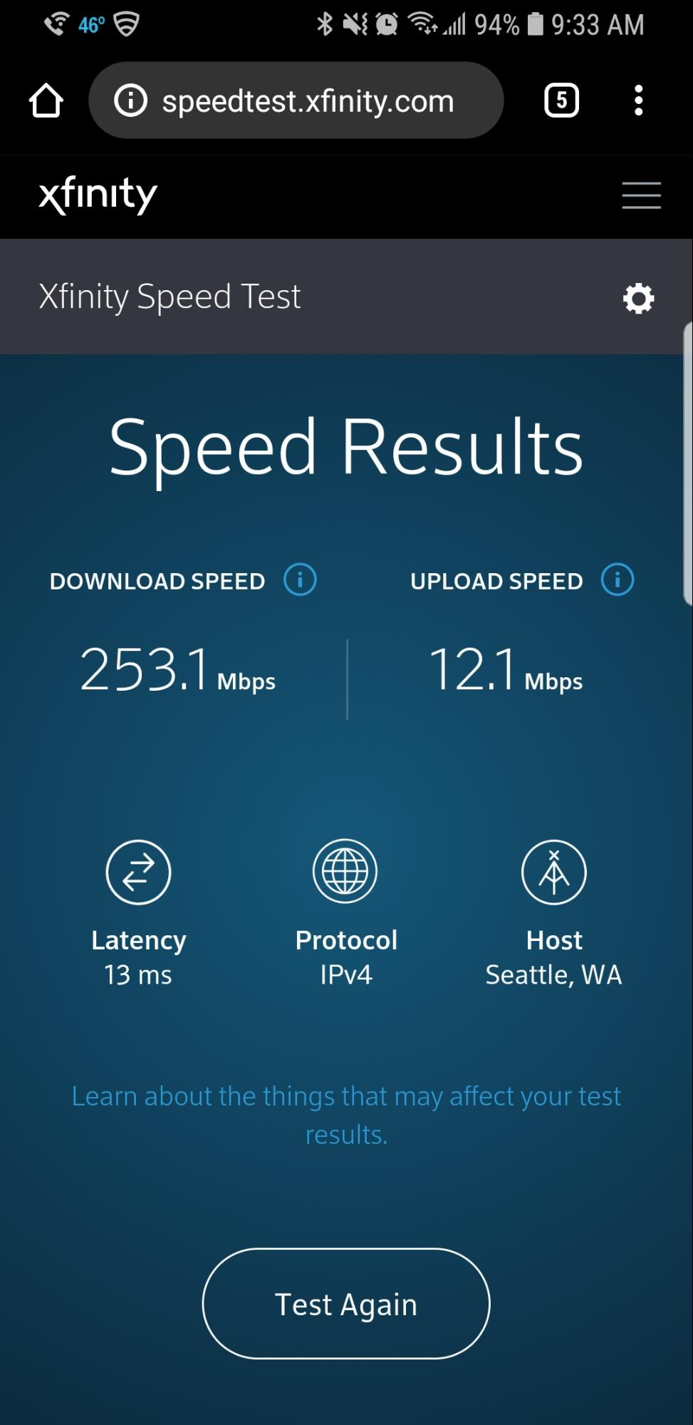 AXfinity Internet Speed Test on Mobile