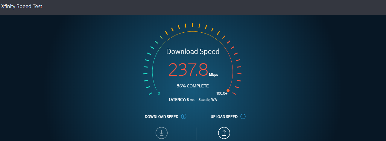 AXfinity Speed Test on Desktop